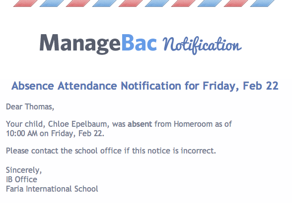 Parent Attendance Notification