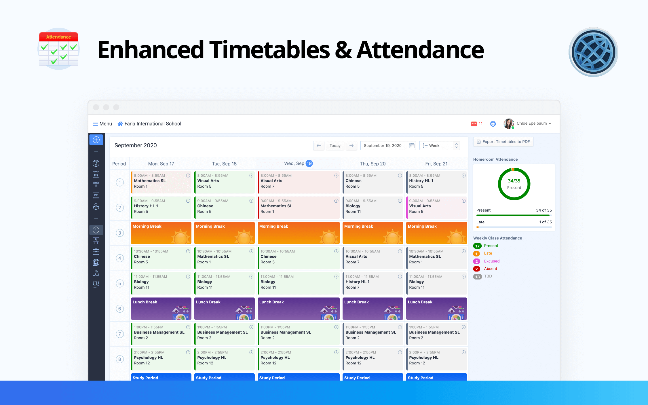 Enhanced Weekly Timetable & Attendance